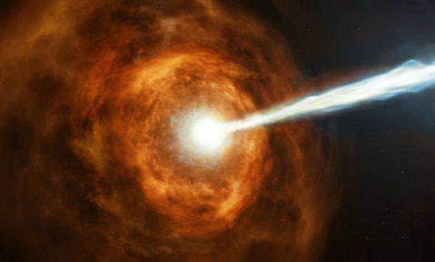 Künstlerische Darstellung des energiereichen Gammablitzes GRB 190114C. (Credits: NASA, ESA and M. Kornmesser)