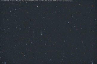 Einzelbild des Kometen C/2017 T2 (PANSTARRS), aufgenommen am Abend des 27.12.2019. (Credit: astropage.eu)