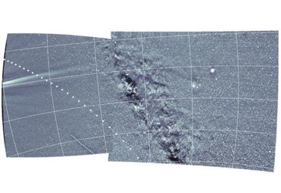 Strukturen in der Korona der Sonne (links) und die Milchstraße (Mitte), aufgenommen am 6. April 2019 vom WISPR-Instrument an Bord der Parker Solar Probe. (Credits: U.S. Navy / Released)