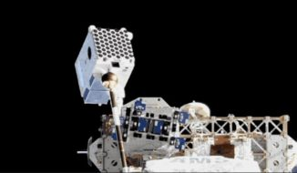 Das NICER-Teleskop an Bord der Internationalen Raumstation ISS. (Credits: NASA)