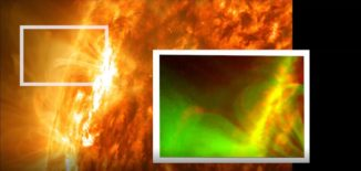 Dieses Bild zeigt die Sonne am 3. Mai 2012; das kleine Bild zeigt eine Nahaufnahme des vom SDO beobachteten Rekonnexionsereignisses, wo die X-Form sichtbar ist. (Credits: NASA / SDO / Abhishek Srivastava / IIT (BHU))