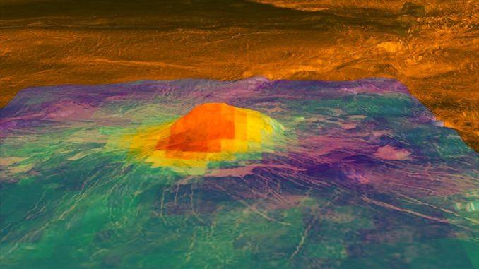 Dieses Bild zeigt den Vulkangipfel Idunn Mons in dem Gebiet Imdr Regio auf der Venus. Das Wärmemuster basiert auf Daten des Visible and Infrared Thermal Imaging Spectrometer (VIRTIS) an Bord der ESA-Raumsonde Venus Express. (Credit: NASA / ESA)