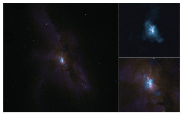 Die Galaxie NGC 6240, beobachtet von ALMA (oben) und Hubble (unten). (Credits: ALMA (ESO / NAOJ / NRAO), E. Treister; NRAO / AUI / NSF, S. Dagnello; NASA / ESA Hubble)