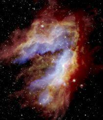 Kompositbild des Omega- oder Schwanennebels, basierend auf Daten des SOFIA-Teleskops, sowie der Weltraumteleskope Herschel und Spitzer. (Credits: NASA / SOFIA / De Buizer / Radomski / Lim; NASA / JPL-Caltech; ESA / Herschel)