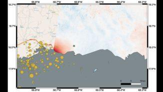 Diese Karte zeigt Veränderungen und Verschiebungen des Bodens in den östlichen zwei Dritteln Puerto Ricos aufgrund eines Erdbebens der Stärke 6,4. (Credits: NASA / JPL-Caltech, ESA, USGS)