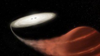 Illustration des neu entdeckten Zwergnova-Systems, in dem ein Weißer Zwerg Materie von einem begleitenden Braunen Zwerg abzieht. (Credits: NASA and L. Hustak (STScI))