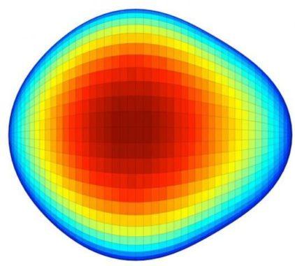 Schematische Darstellung der birnenförmigen Gestalt des Radium-224-Kerns. (Image: CERN)