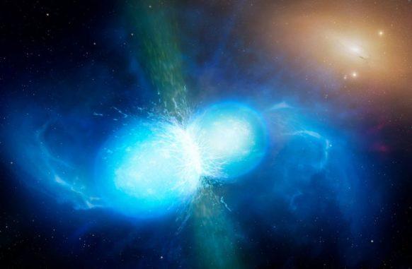 Künstlerische Darstellung zweier Neutronensterne kurz vor der Verschmelzung. (Credits: Image credit: University of Warwick / Mark Garlick)