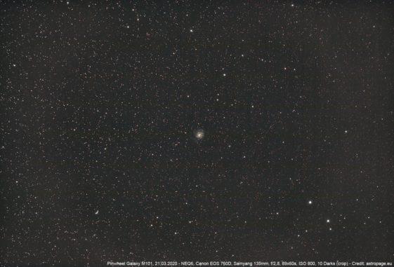 Die Feuerrad-Galaxie M101, aufgenommen am 21. März 2020. (Credits: astropage.eu)