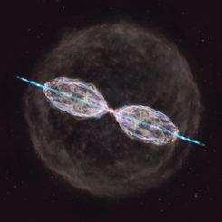Künstlerische Darstellung basierend auf den Ergebnissen der ALMA-Beobachtungen des alternden Sterns W43A. (Credit: NAOJ)