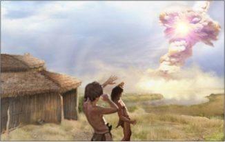 Künstlerische Darstellung einer Kometenexplosion bei Abu Hureyra in Syrien. (Credits: Jennifer Rice, CometResearchGroup.org)