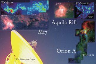Fotomontage der Emissionslinien-Intensität von CO-Molekülen in den drei beobachteten interstellaren Wolken Orion A, Aquila Rift und M17. (Credit: NAOJ)