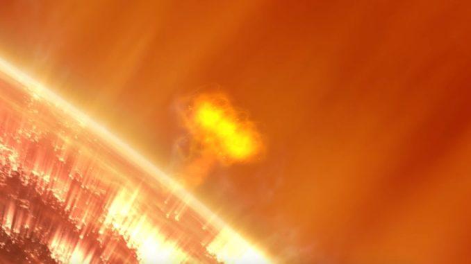 Illustration einer Eruption auf der Sonne, dem Ursprung solarer Strahlungsstürme. (Credits: NASA)