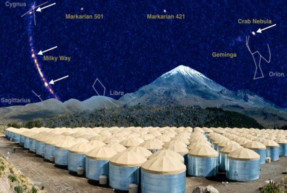 Kompositgrafik eines Himmelsausschnitts im ultrahohen Gammabereich. Im Vordergrund ist das HAWC Observatory zu sehen. (Credits: Courtesy of Jordan Goodman)