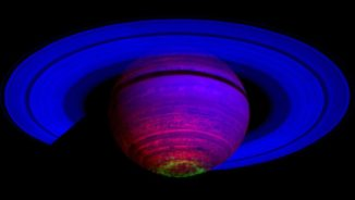Polarlichter am Südpol Saturns, aufgenommen von der Raumsonde Cassini. (Credit: NASA / JPL / ASI / University of Arizona / University of Leicester)
