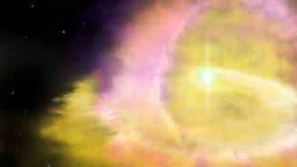 Künstlerische Darstellung der Supernova SN 2016aps. (Credits: Image by Aaron Geller (Northwestern University))