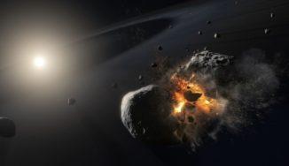 Künstlerische Darstellung der Kollision zweier großer Himmelskörper im Orbit um den hellen Stern Fomalhaut. (Credits: ESA, NASA and M. Kornmesser)