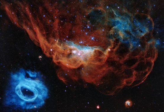 Hubble-Aufnahme der Nebelstrukturen NGC 2014 (rot) und NGC 2020 (blau) in einer ausgedehnten Sternentstehungsregion in der Großen Magellanschen Wolke. (Credits: NASA, ESA and STScI)