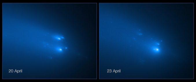 Hubble-Aufnahmen des auseinanderbrechenden Kometen C/2019 Y4 (ATLAS) vom 20. und 23. April 2020. (Credits: NASA, ESA, D. Jewitt (UCLA), Q. Ye (University of Maryland))