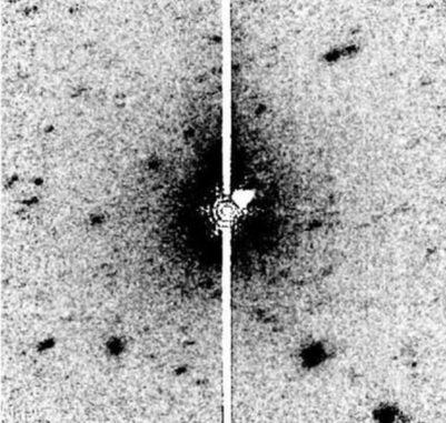 Spitzer-Aufnahme des schlafenden Kometen Don Quixote und einer diffusen, länglichen Struktur um das Objekt. (Credits: NASA / IRAC / Spitzer, Mommert et al. 2014)