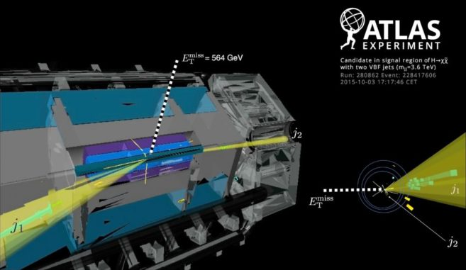 Ein Kandidatenereignis für die Erzeugung eines Higgs-Bosons mittels der Vektor-Bosonen-Fusion und anschließendem Zerfall in unregistrierte Teilchen. (Credits: Image: CERN)