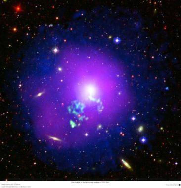 Die Galaxiengruppe NGC 5044, basierend auf Daten aus verschiedenen Wellenlängen von niederfrequenten Radiowellen bis hin zu Röntgenwellenlängen. (Credits: ESA / XMM-Newton, CC BY-SA 3.0 IGO)