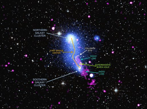 Abell 2384 (beschriftet). (Credit: X-ray: NASA / CXC / SAO / V.Parekh, et al. & ESA / XMM-Newton; Radio: NCRA / GMRT))