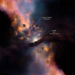 """Künstlerische Darstellung eines Quasars, der von einem Torus aus Staub und dichteren Wolken-""""Klumpen"""" umgeben ist. (Credits: Illustration by Nima Abkenar)"""