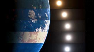 Künstlerische Darstellung mehrerer verschiedener Sterntypen und Planetenoberflächen. (Credits: Jack Madden / Cornell University)