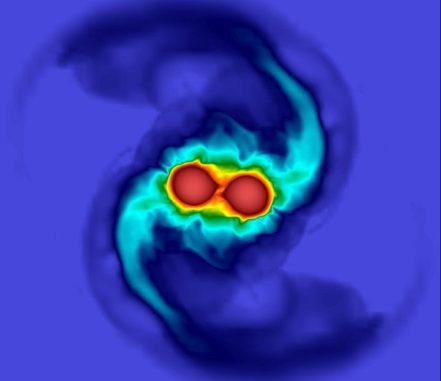 Simulation der Verschmelzung zweier Neutronensterne. (Credits: University of Birmingham)
