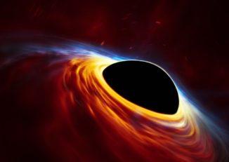 Künstlerische Darstellung eines rotierenden Schwarzen Lochs, das von einer Akkretionsscheibe umgeben ist. (Credits: ESO, ESA / Hubble, M. Kornmesser)