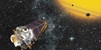 Illustration des Kepler-Teleskops bei der Beobachtung von Exoplaneten. (Credits: NASA Ames / W. Stenzel)