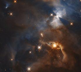 """Hubble-Aufnahme des """"Fledermausschattens"""", dem Schatten einer protoplanetaren Scheibe auf einer nahe gelegenen Wolke. (Credit: NASA, ESA, K. Pontoppidan)"""