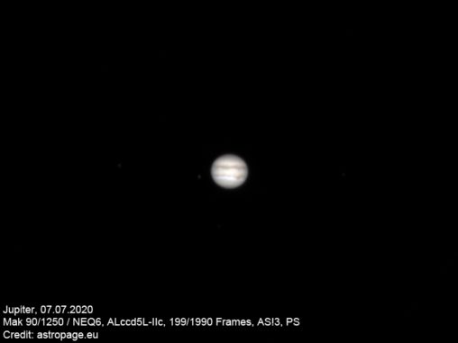 Jupiter, aufgenommen am 7. Juli 2020 mit einem Mak 90/1250 und Planetencam. (Credit: astropage.eu)