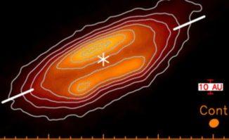 ALMA-Aufnahme der protoplanetaren Scheibe um einen jungen Stern. (Credits: Lee, Chin-Fei et al.)