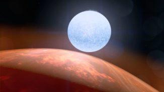 Künstlerische Darstellung des Planeten KELT-9 b und seines Zentralsterns. (Credit: NASA's Goddard / Space Flight Center / Chris Smith (USRA))