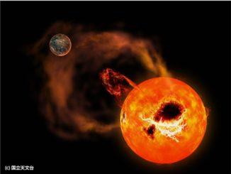 Illustration des Sterns AD Leonis mit explosiven stellaren Eruptionen. (Credits: National Astronomical Observatory of Japan)