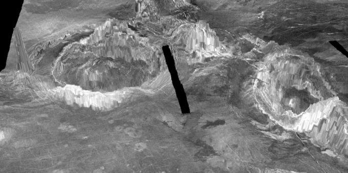 Coronae sind Strukturen vulkanischen Ursprungs auf der Venus. (Credits: University of Maryland)