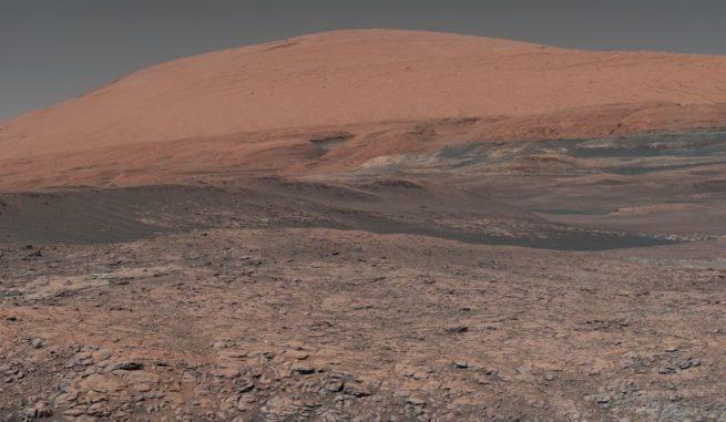 Marslandschaft, aufgenommen vom Mars-Rover Curiosity. (Credits: NASA / JPL-Caltech / MSSS)
