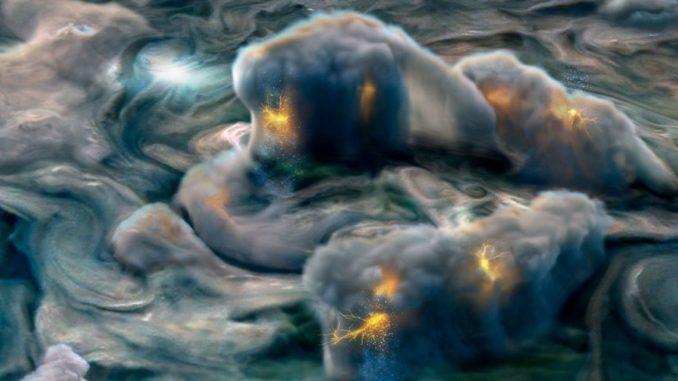 Illustration von elektrischen Stürmen in der oberen Atmosphäre Jupiters, basierend auf Daten der Raumsonde Juno. (Credits: NASA / JPL-Caltech / SwRI / MSSS / Gerald Eichstädt)
