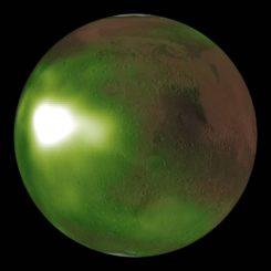 """Das """"Nachtleuchten"""" der Atmosphäre auf dem Mars im Ultraviolettbereich, basierend auf Daten der Raumsonde MAVEN. (Credits: NASA / MAVEN / Goddard Space Flight Center / CU / LASP)"""