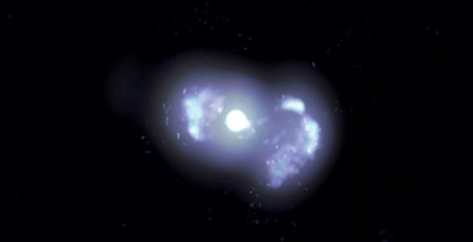 VLBA-Kompositbild von der Galaxie TXS 0128+554. (Credits: Lister, et al.; Sophia Dagnello, NRAO / AUI / NSF)