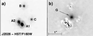 Hubble-Aufnahme des Quasars WFI2026-4536 und seiner durch den Gravitationslinseneffekt entstandenen Mehrfachabbilder. (Credits: NASA-Hubble, Morgan et al. 2003)