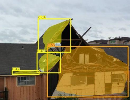 Gebäudeschäden nach einer Naturkatastrophe, die von einer künstlichen Intelligenz bewertet wurden. (Credits: Carnegie Mellon University)