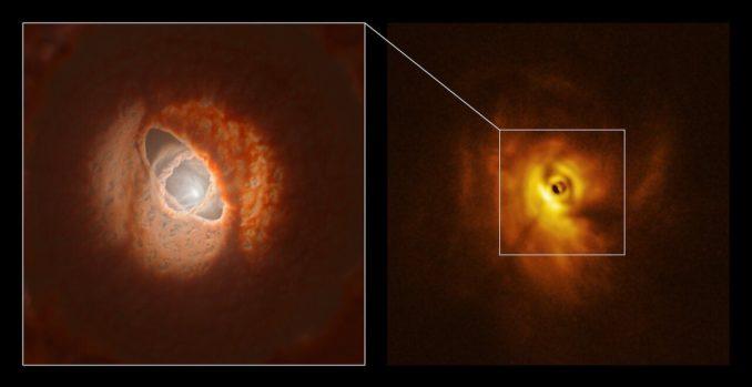 Rechts: Aufnahme der Zentralregion des Dreifachsternsystems GW Orionis, basierend auf Daten des VLT. Links: Künstlerische Darstellung der Ringe in der Zentralregion. (Credit: ESO / L. Calçada, Exeter / Kraus et al.)