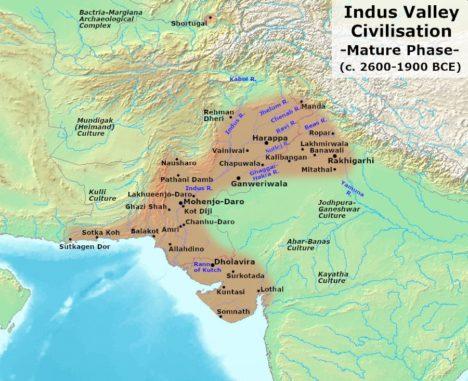 Ausdehnung der Indus-Kultur während der Hochphase. (Credits: Wikipedia / User: Avantiputra7 / CC BY-SA 3.0)