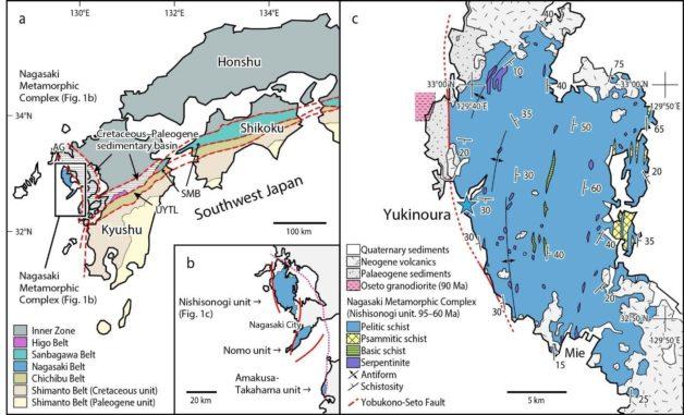 Die Position und die geologische Karte des Yukinoura District, Saikai City in der Nagasaki-Präfektur, Japan. (Credits: Professor Tadao Nishiyama / CC BY 4.0)