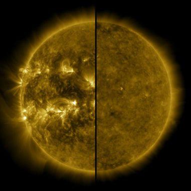 Dieses geteilte Bild zeigt den Unterschied zwischen einer aktiven Sonne während des solaren Maximums im April 2014 (links) und einer ruhigen Sonne während des solaren Minimums im Dezember 2019 (rechts). (Credits: NASA / SDO)