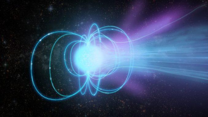 Künstlerische Darstellung eines Magnetars. (Credit: Sophia Dagnello, NRAO / AUI / NSF)