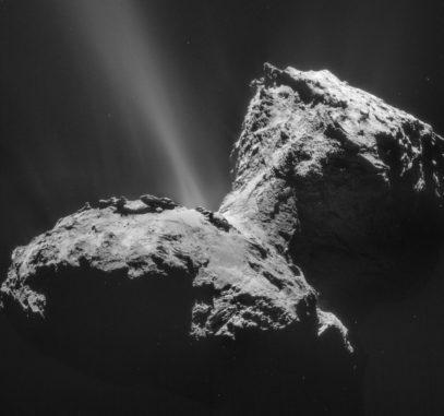 Rosetta-Aufnahme des Kometen 67P/Tschurjumow-Gerassimenko. (Credits: Courtesy of ESA / Rosetta / NAVCAM)